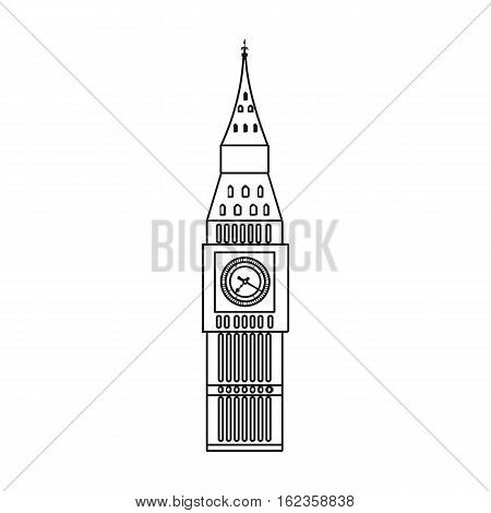 Big Ben icon in outline style isolated on white background. England country symbol vector illustration.