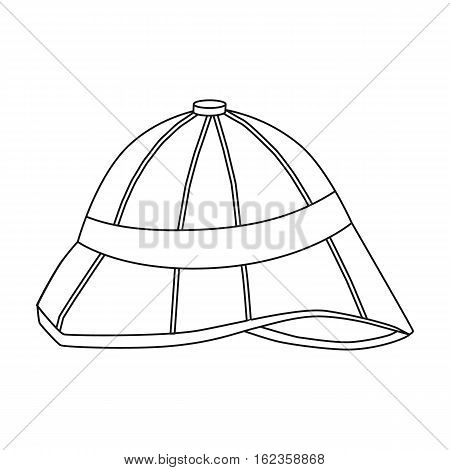 Pith helmet icon in outline style isolated on white background. England country symbol vector illustration.