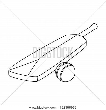 Cricket bat and ball icon in outline style isolated on white background. England country symbol vector illustration.