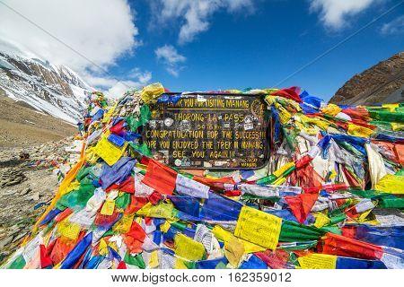 Thiring La, Nepal - May 11, 2016: Thorong La pass 5416m, highest point of Annapurna circuit trek.