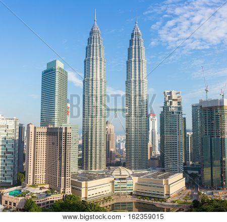 Kuala Lumpur, Malaysia - September 24, 2016: Petronas towers and Kuala Lumpur city skyline, Malaysia