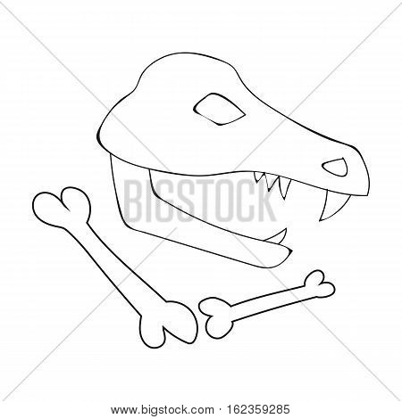 Dinosaur fossils icon in outline style isolated on white background. Stone age symbol vector illustration.