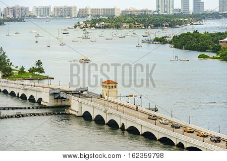 Retractable Bridge And Skyline Of Miami South Beach
