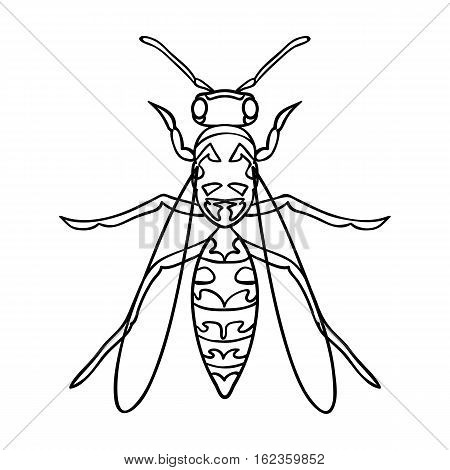 Wasp icon in outline design isolated on white background. Insects symbol stock vector illustration.
