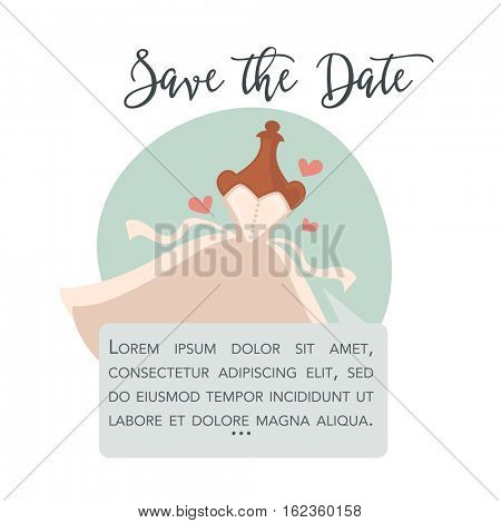 Wedding dress for bride on hanger. Cute romantic illustration. Cartoon design element for invitation to celebration, Save the Date card. Isolated on white background.