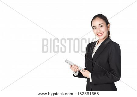 asian young business woman smile with tablet isolated on white background