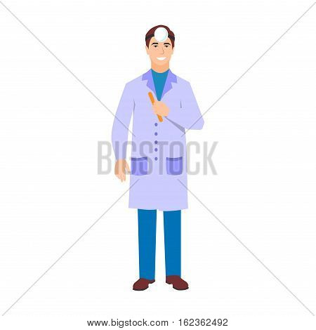 Vector illustration of a man in white coat. Flat style doctor character. Professional cartoon ophthalmologist medical human worker. Uniform occupation person isolated male.