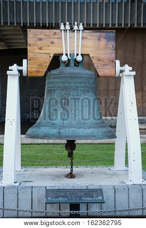 An exact replica of the original Liberty Bell presented to Hawaii by the United States Treasury Department July 4 1950
