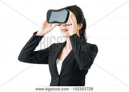 Asian Business Woman Communication By Vr Headset Glasses