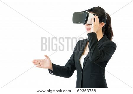 Asian Business Woman Handshake By Vr Headset Glasses