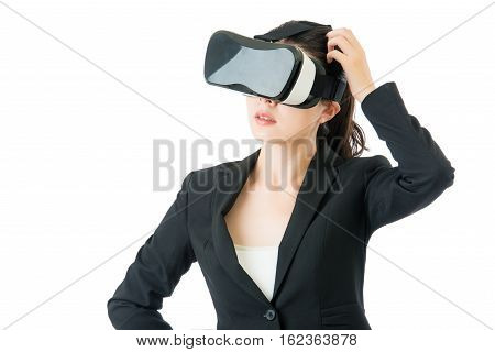 Asian Business Woman Question About Vr Headset Glasses Device