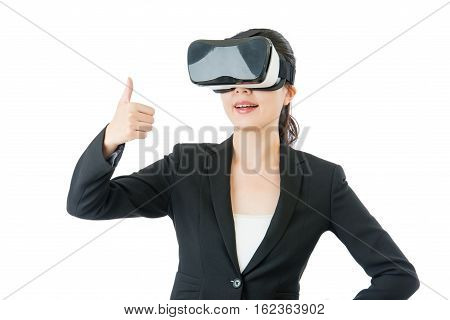 Asian Business Woman Good Like To Use Vr Headset Glasses