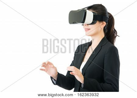 Asian Business Woman Control By Vr Headset Glasses Device