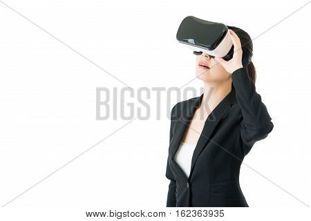 Beauty Asian Woman Look Through Vr Glasses For Business