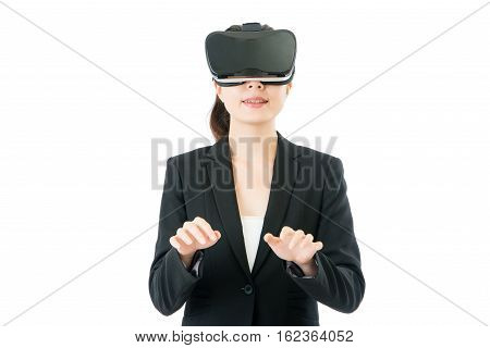 Asian Business Woman Simulate Use Keyboard By Vr Headset