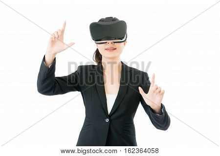 Asian Business Woman Enlarge Screen By Vr Headset Glasses