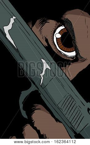 Dark Skinned Person Holding Pistol Close To Face