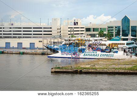 Balearia Bahamas Express Cruise Ship In Fort Laudardale