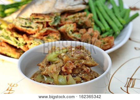 Green Chili Dip As  Nam Prik Num Served Side Dish.