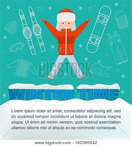 The concept of active rest and joyful pastime. Winter time banner. Boy with winter vacation items concept. Flat illustration. Sun,  sleds, snowboard, ski, snowmobile, safety glassesweb icon set.