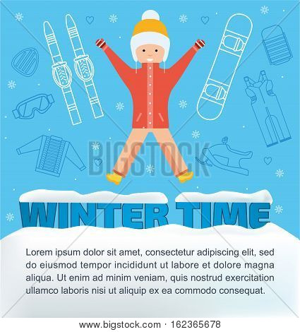 The concept of active rest and joyful pastime. Winter time banner. Girl jumping for joy. Winter vacation items concept. Flat. Sun, sleds, snowboard, ski, snowmobile, safety glassesweb icon.