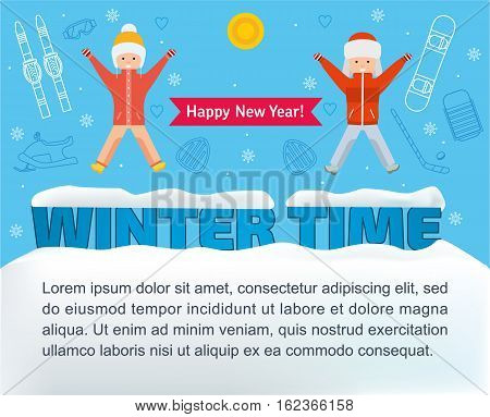 Winter time banner. Girl and boy jumping for joy on the word winter time on the background of the sport line icons. Flat illustration. The concept of active rest and joyful pastime.