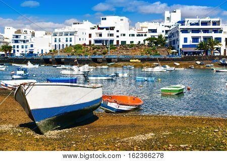 fishing boats in the bay Charco de San Gines, in Arrecife, Lanzarote, in Canary Islands, Spain