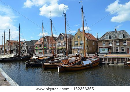 Spakenburg harbour with Wooden Boats built in 1900,