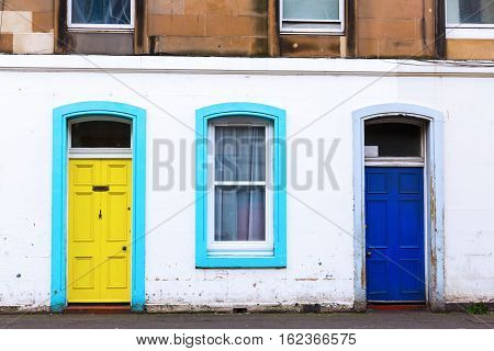 Colorful Doors At A City Building In Edinburgh