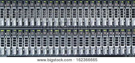 The hard drives in data center of factory