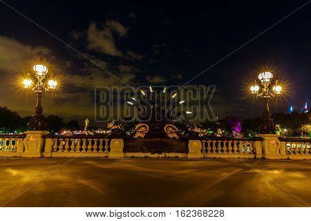 Bridge Pont Alexandre Iii In Paris At Night