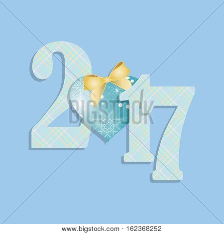 Happy new year 2017. New design in 2017. It can be used for greeting cards, calendar, festive decoration. Vector illustration.