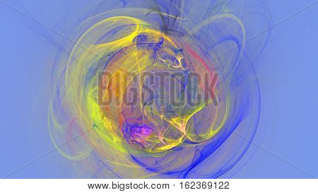 Colorful explosion curves and waves abstract background 3D