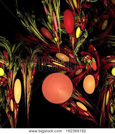 Colorful pattern with leaves and balls abstract background 3D