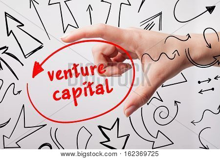 Technology, Internet, Business And Marketing. Young Business Woman Writing Word: Venture Capital