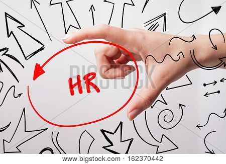 Technology, Internet, Business And Marketing. Young Business Woman Writing Word: Hr