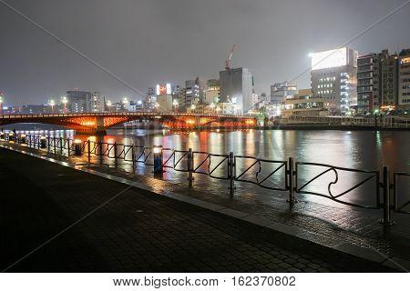 along the riverside in Sumuda at night taken in Asakusa Japan on 02 December 2016