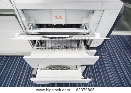 close up printer paper tray for input