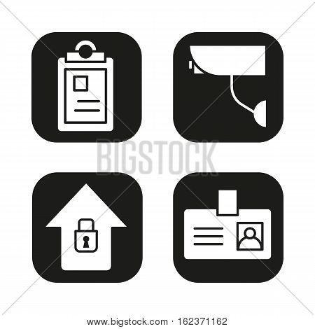 Police icons set. File, camera, home security, badge symbol. Vector white silhouettes illustrations in black squares
