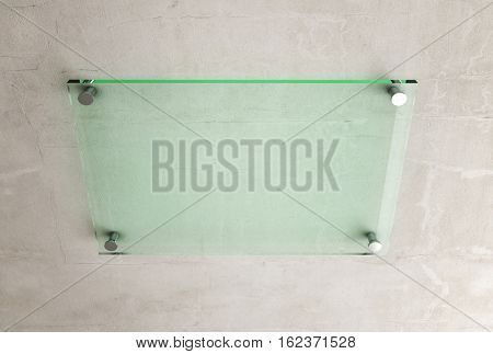 glass plate on wall 3d rendering image