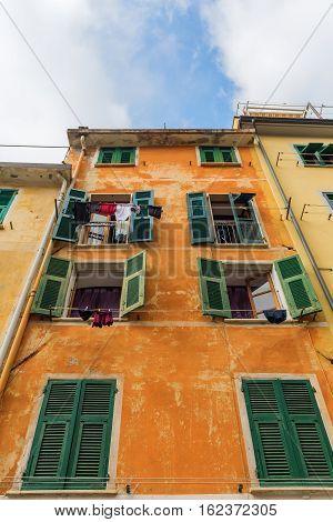 Typical Building In Riomaggiore, Italy