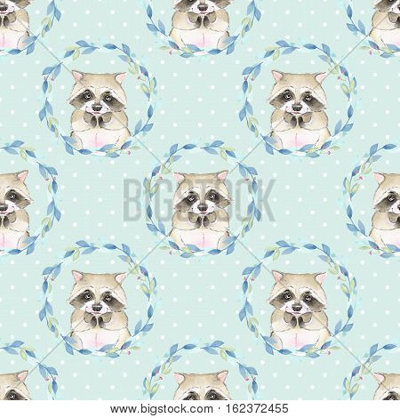 Raccoon and floral wreath. Watercolor seamless pattern