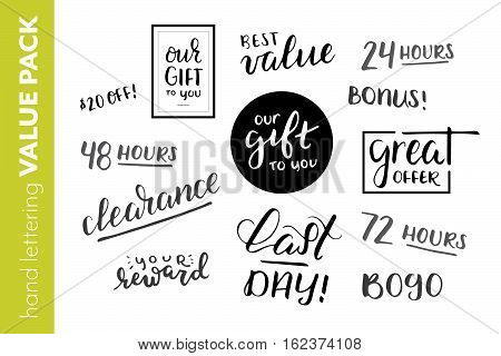 Corporate hand lettered gift badges and sale badges. Three day sale countdown handwriting variety collection. Calligraphy savings promotion value pack. Multiple phrases for a promotional sale.