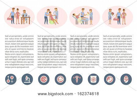 The process of giving birth concepts set and icons. Woman during childbirth, family in the maternity ward, obstetrician is delivering a child. Vector illustration for infographic