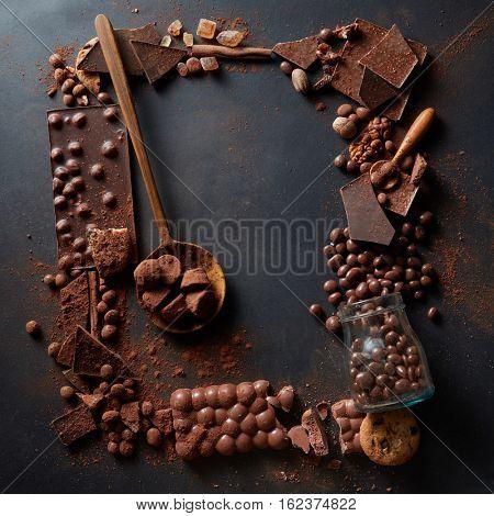 frame of chocolates