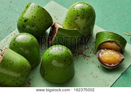 green candy with jelly