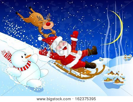 Santa with reindeer and a snowman riding merrily down from the snow hill  Winter Christmas night.