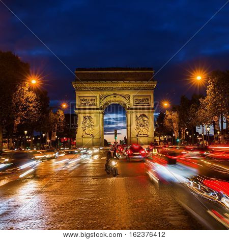 Champs Elysees And Arc De Triomphe At Night