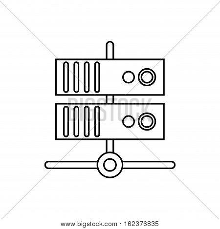 data base technology server system outline vector illustration eps 10
