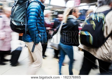 People At The Station In Motion Blur